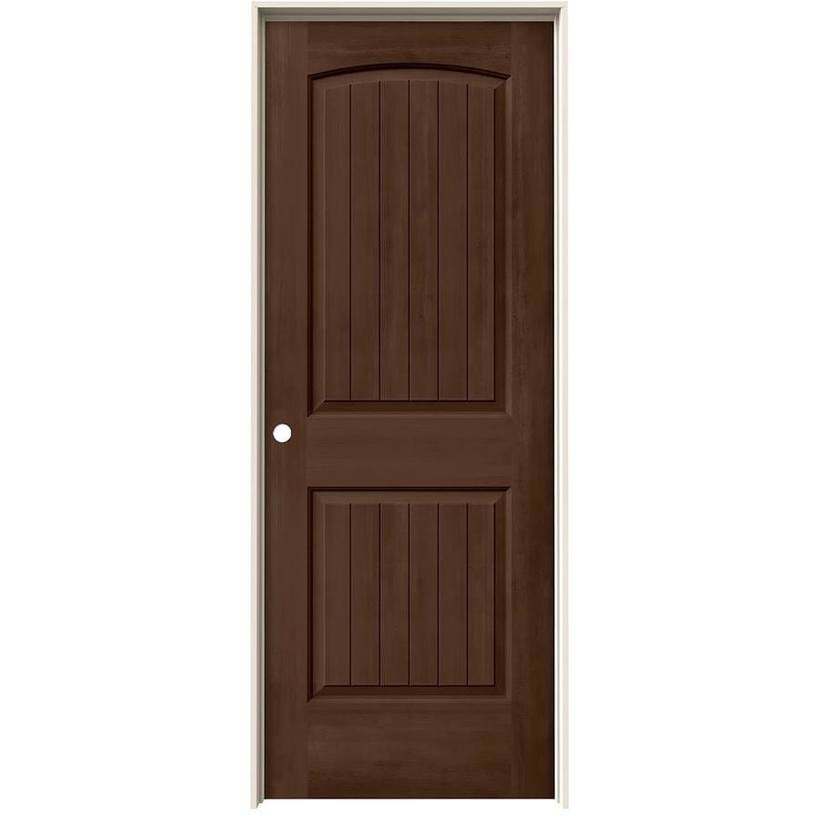JELD-WEN Woodview Milk Chocolate 2-Panel Round Top Plank Single Prehung Interior Door (Common: 24-in x 80-in; Actual: 25.562-in x 81.688-in)
