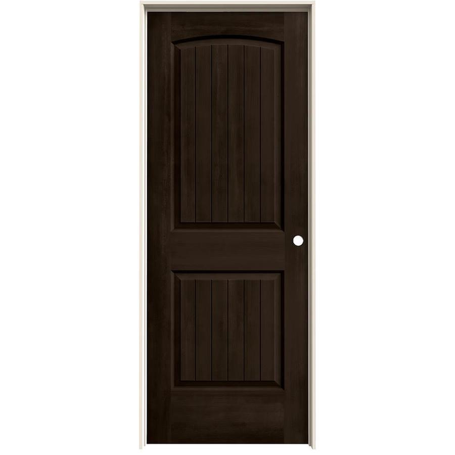 JELD-WEN Woodview Espresso 2-Panel Round Top Plank Single Prehung Interior Door (Common: 32-in x 80-in; Actual: 33.562-in x 81.688-in)