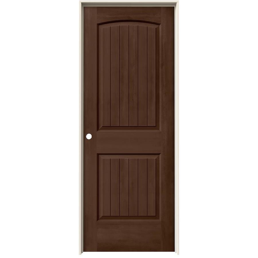 JELD-WEN Woodview Milk Chocolate 2-Panel Round Top Plank Single Prehung Interior Door (Common: 32-in x 80-in; Actual: 33.562-in x 81.688-in)