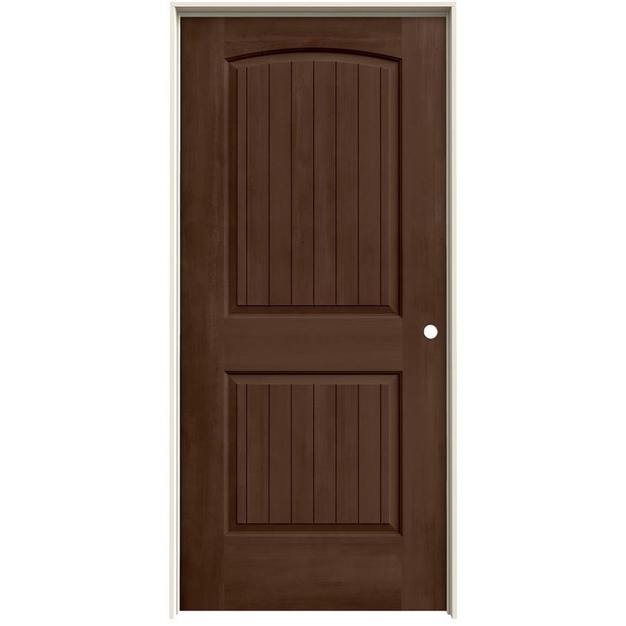 JELD-WEN Woodview Milk Chocolate 2-Panel Round Top Plank Single Prehung Interior Door (Common: 36-in x 80-in; Actual: 37.562-in x 81.688-in)