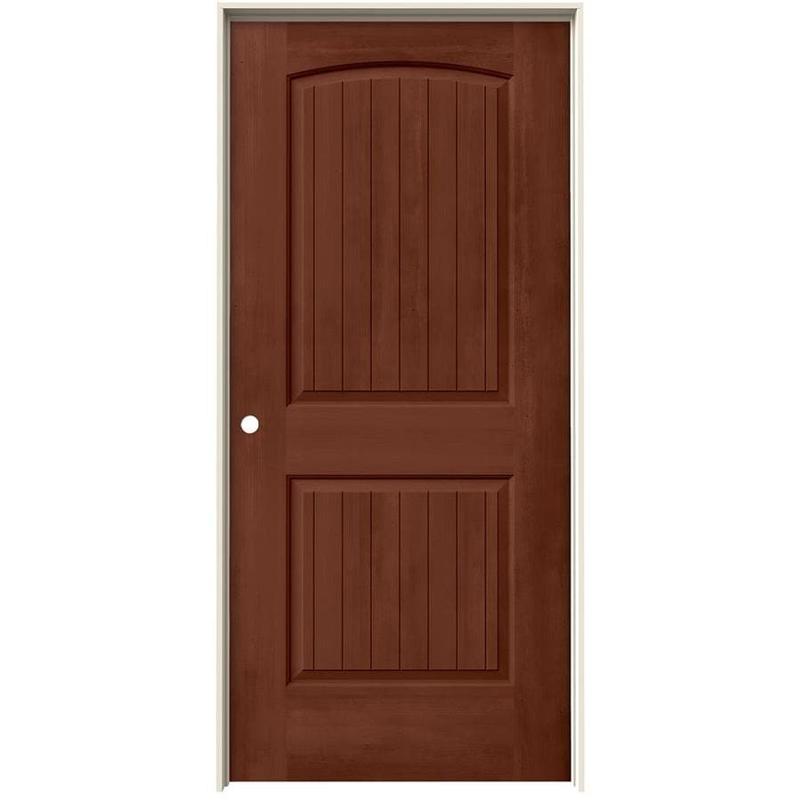 JELD-WEN Woodview Amaretto 2-Panel Round Top Plank Single Prehung Interior Door (Common: 36-in x 80-in; Actual: 37.562-in x 81.688-in)