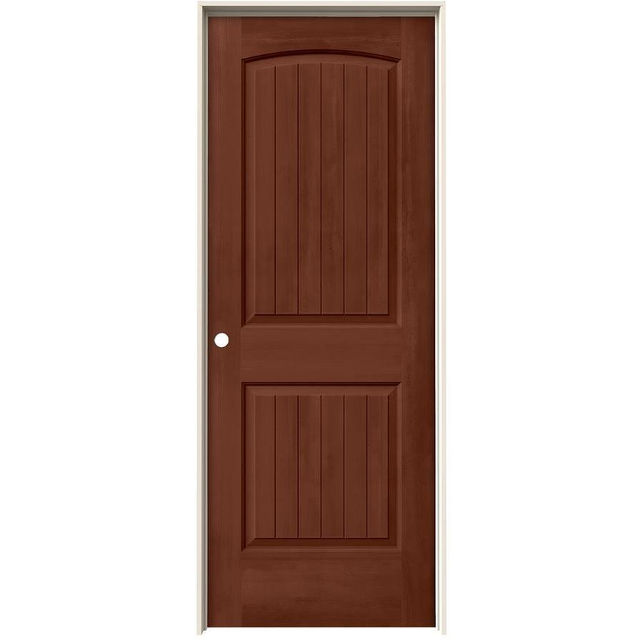 JELD-WEN Woodview Amaretto 2-Panel Round Top Plank Single Prehung Interior Door (Common: 30-in x 80-in; Actual: 31.562-in x 81.688-in)