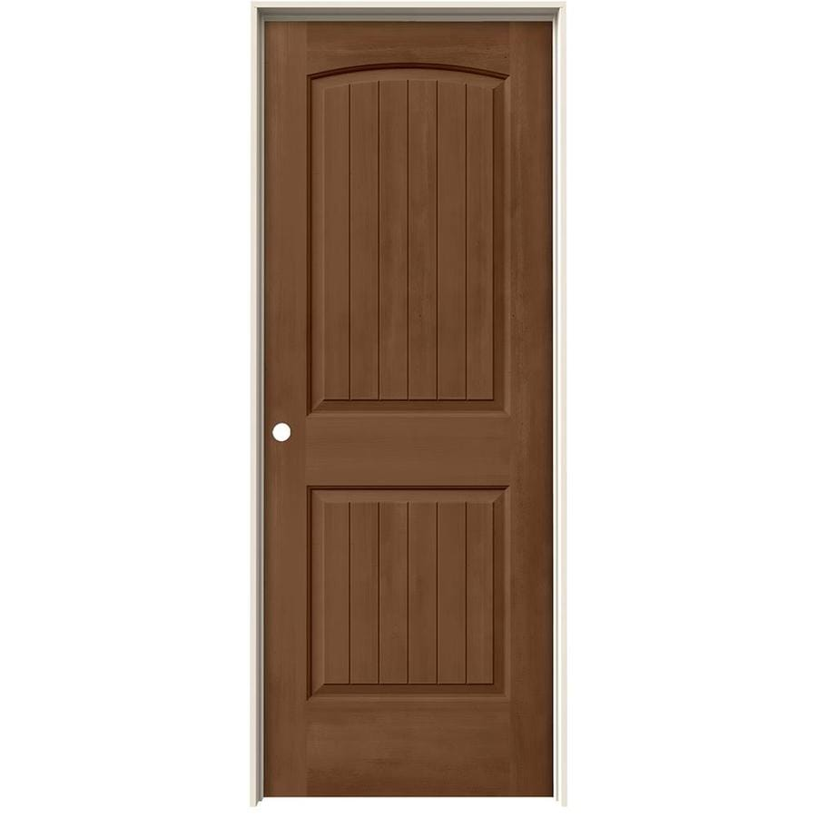 JELD-WEN Woodview Hazelnut 2-Panel Round Top Plank Single Prehung Interior Door (Common: 30-in x 80-in; Actual: 31.562-in x 81.688-in)