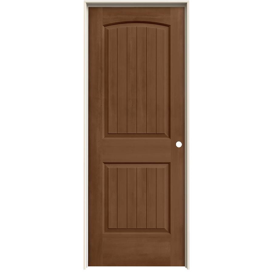 JELD-WEN Woodview Hazelnut 2-Panel Round Top Plank Single Prehung Interior Door (Common: 32-in x 80-in; Actual: 33.562-in x 81.688-in)