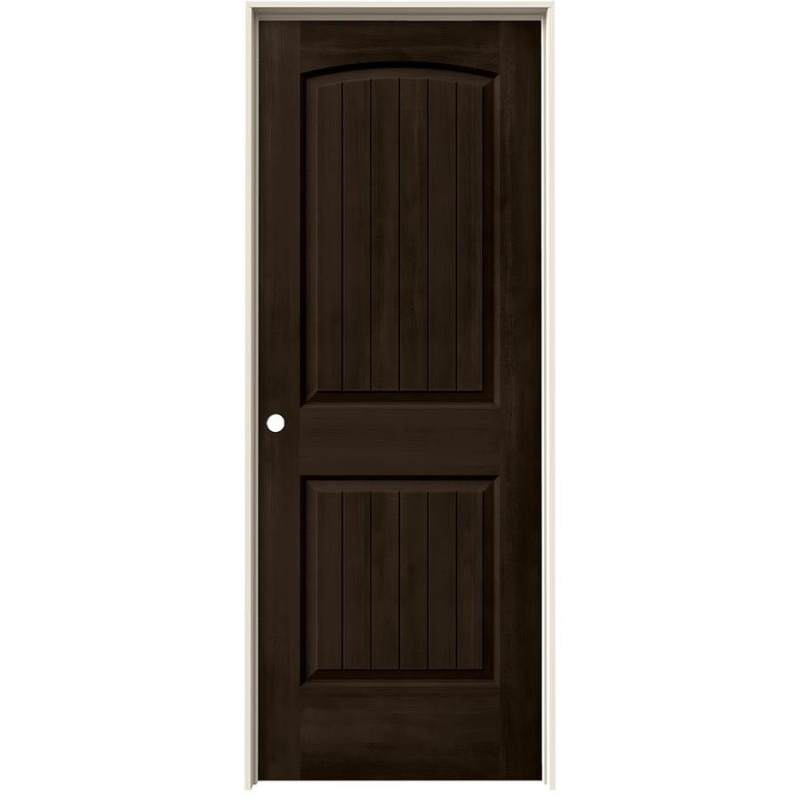Jeld Wen 32 In X 80 In Hardwood Unfinished Flush Solid: JELD-WEN Santa Fe Espresso 2-Panel Round Top Plank Solid
