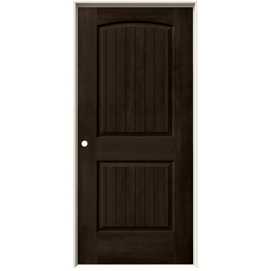 JELD-WEN Woodview Espresso 2-Panel Round Top Plank Single Prehung Interior Door (Common: 36-in x 80-in; Actual: 37.562-in x 81.688-in)