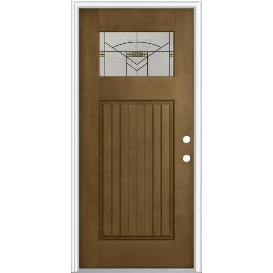 JELD-WEN Decorative Glass Left-Hand Inswing Woodhaven Painted Fiberglass Prehung Entry Door with Insulating Core (Common: 32-in x 80-in; Actual: 33.93-in x 82.5-in)