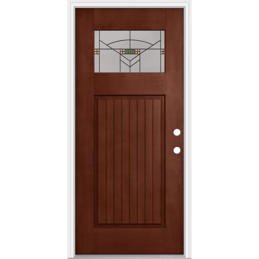JELD-WEN Decorative Glass Left-Hand Inswing Wineberry Painted Fiberglass Prehung Entry Door with Insulating Core (Common: 32-in x 80-in; Actual: 33.93-in x 82.5-in)
