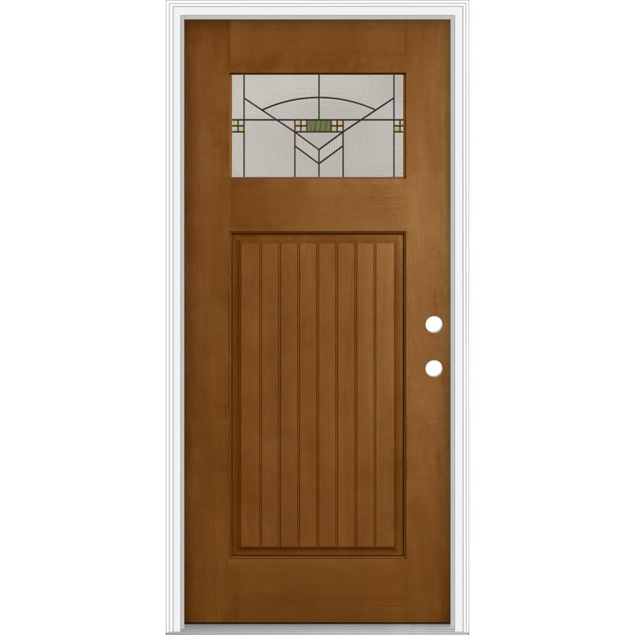 Shop jeld wen decorative glass left hand inswing oak crest for Fiberglass entry doors with glass