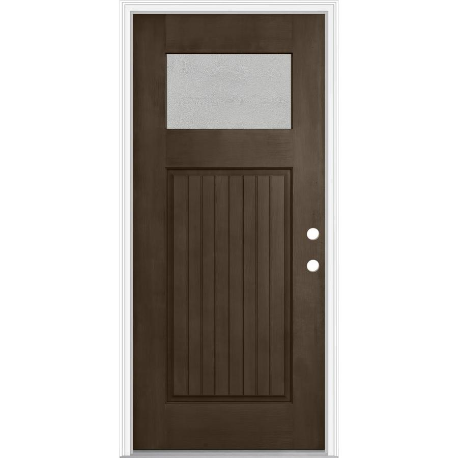 JELD-WEN Decorative Glass Left-Hand Inswing Walnut Painted Fiberglass Prehung Entry Door with Insulating Core (Common: 32-in x 80-in; Actual: 33.93-in x 82.5-in)