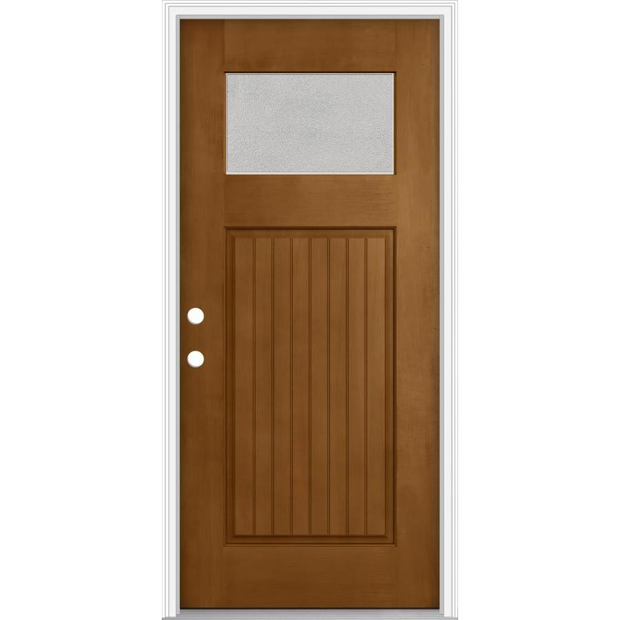 JELD-WEN Decorative Glass Right-Hand Inswing Oak Crest Painted Fiberglass Prehung Entry Door with Insulating Core (Common: 32-in x 80-in; Actual: 33.93-in x 82.5-in)