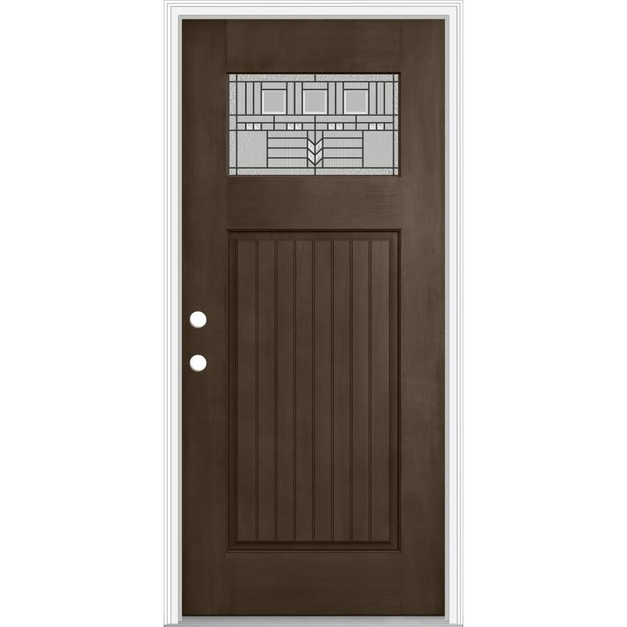 Shop jeld wen decorative glass right hand inswing walnut for Exterior door insulation