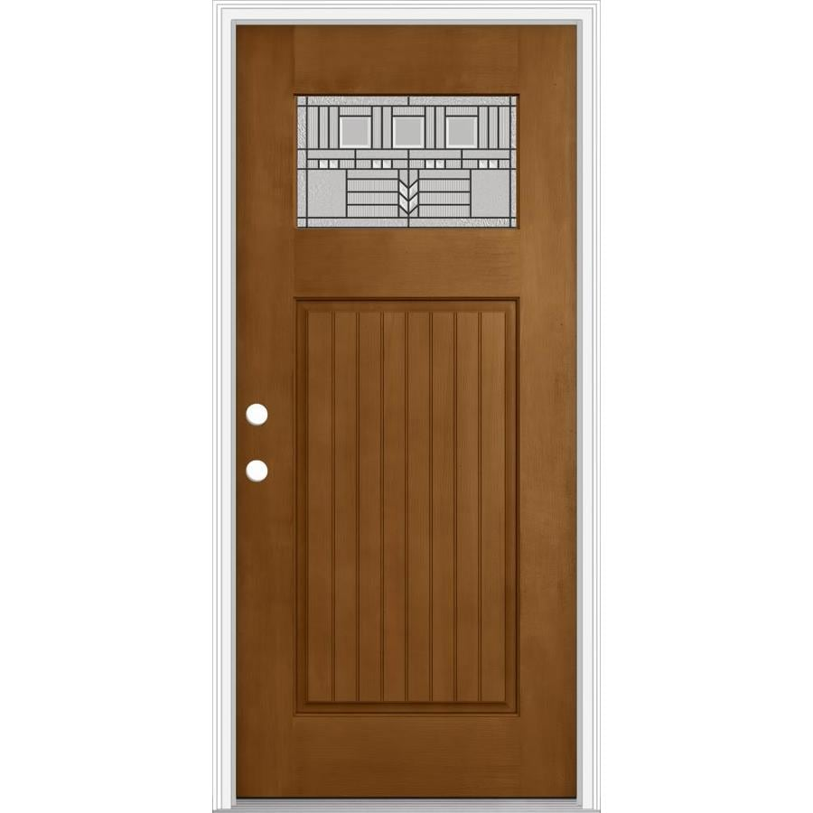 Shop Jeld Wen Decorative Glass Right Hand Inswing Oak Crest Painted Fiberglass Prehung Entry