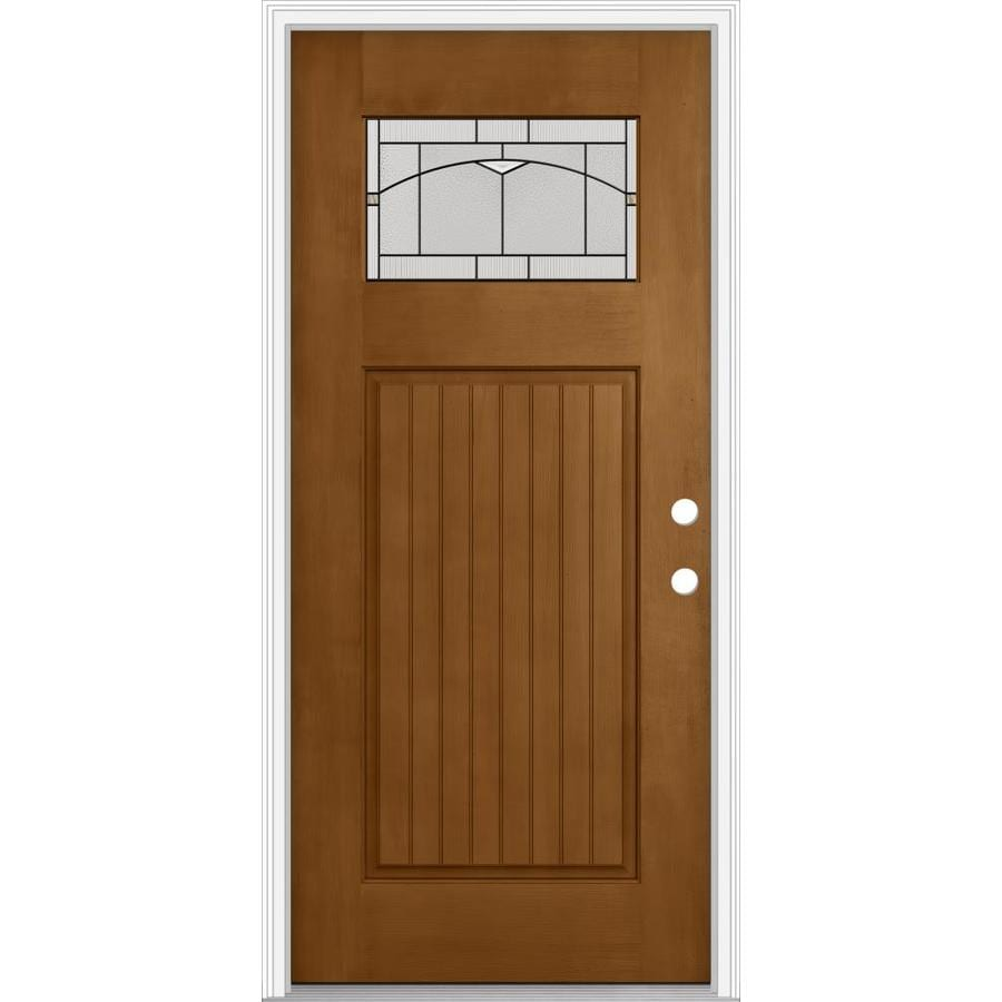 Shop jeld wen decorative glass left hand inswing oak crest for Exterior door insulation