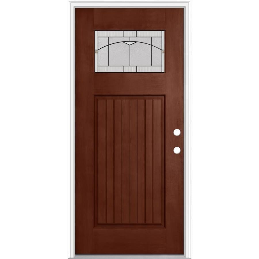 Shop jeld wen decorative glass left hand inswing wineberry for Decorative glass for entry doors