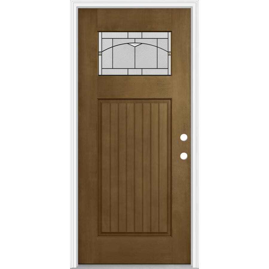 JELD-WEN Decorative Glass Left-Hand Inswing Woodhaven Painted Fiberglass Prehung Entry Door with Insulating Core (Common: 36-in x 80-in; Actual: 37.93-in x 82.5-in)