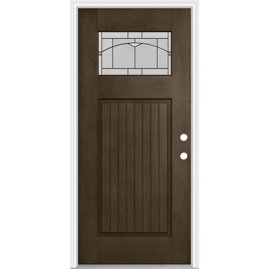 JELD-WEN Decorative Glass Left-Hand Inswing Walnut Painted Fiberglass Prehung Entry Door with Insulating Core (Common: 36-in x 80-in; Actual: 37.93-in x 82.5-in)
