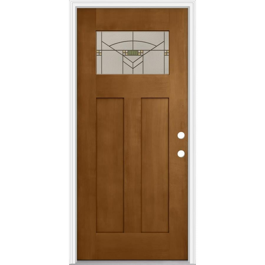 JELD-WEN Decorative Glass Left-Hand Inswing Oak Crest Painted Fiberglass Prehung Entry Door with Insulating Core (Common: 36-in x 80-in; Actual: 37.93-in x 82.5-in)