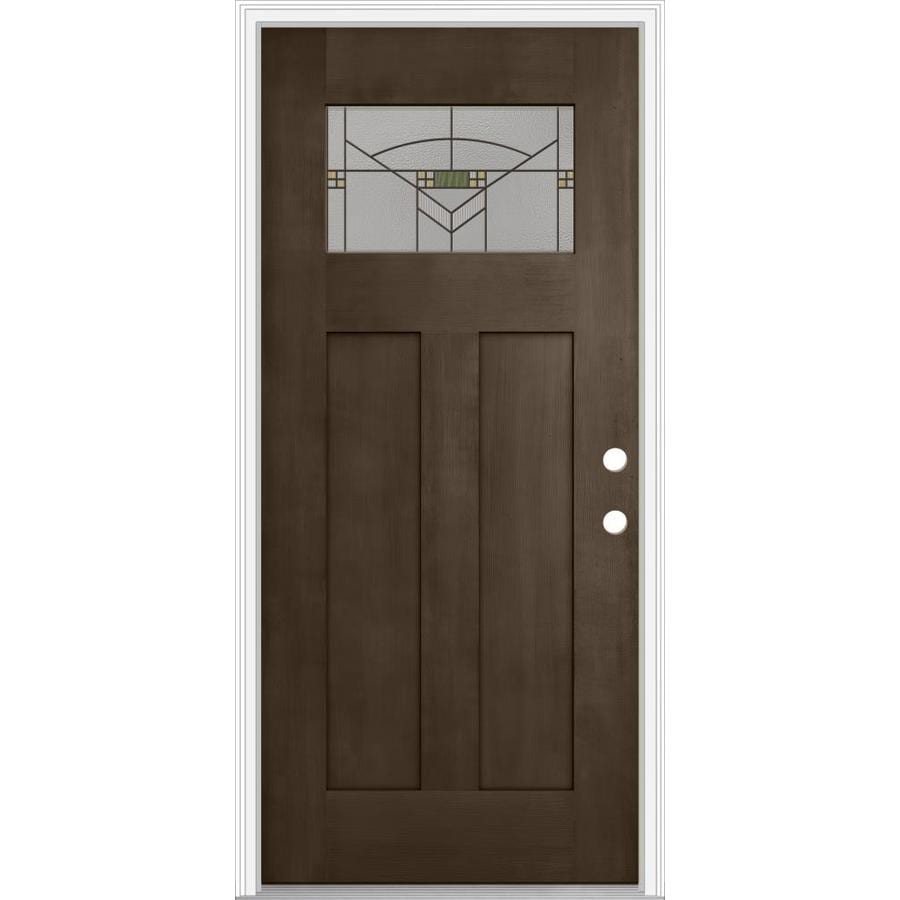 Shop Jeld Wen Decorative Glass Left Hand Inswing Walnut Painted Fiberglass Prehung Entry Door