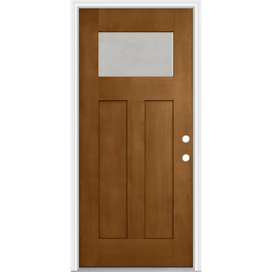 JELD-WEN Decorative Glass Left-Hand Inswing Oak Crest Painted Fiberglass Prehung Entry Door with Insulating Core (Common: 32-in x 80-in; Actual: 33.93-in x 82.5-in)