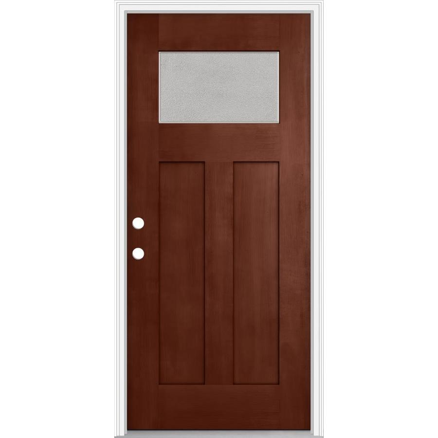 JELD-WEN Decorative Glass Right-Hand Inswing Wineberry Painted Fiberglass Prehung Entry Door with Insulating Core (Common: 32-in x 80-in; Actual: 33.93-in x 82.5-in)