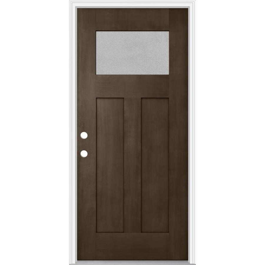 Shop jeld wen decorative glass right hand inswing walnut for Decorative glass for entry doors