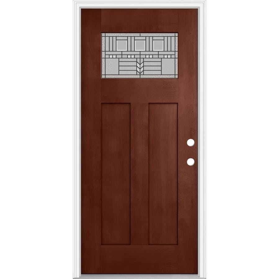 JELD-WEN Decorative Glass Left-Hand Inswing Wineberry Painted Fiberglass Prehung Entry Door with Insulating Core (Common: 36-in x 80-in; Actual: 37.93-in x 82.5-in)