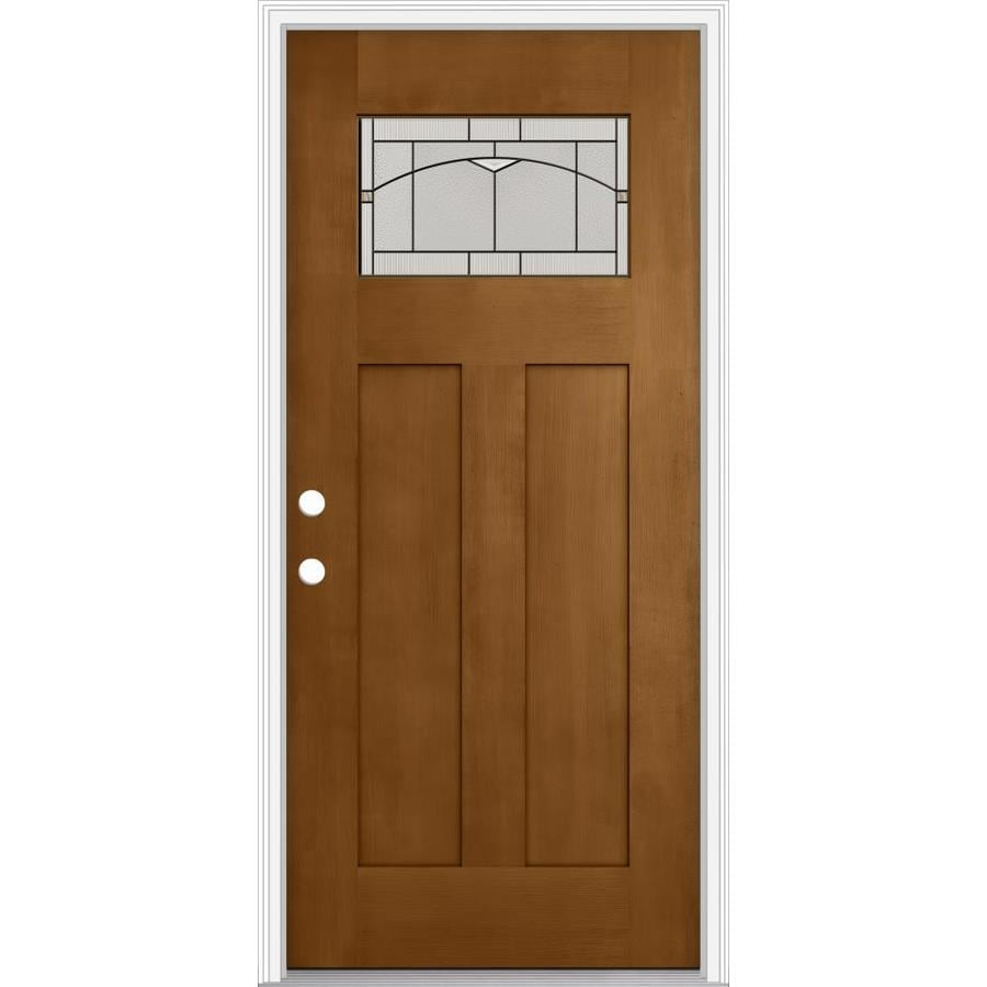 Shop jeld wen decorative glass right hand inswing oak for Decorative glass for entry doors