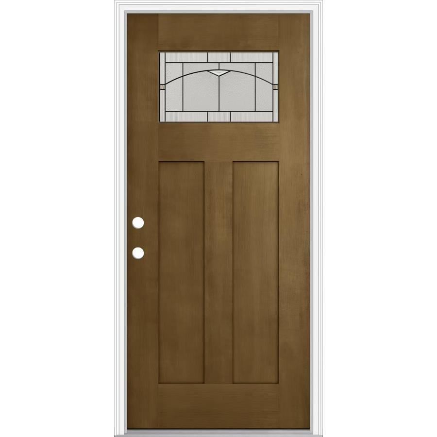 JELD-WEN Decorative Glass Right-Hand Inswing Woodhaven Painted Fiberglass Prehung Entry Door with Insulating Core (Common: 32-in x 80-in; Actual: 33.93-in x 82.5-in)