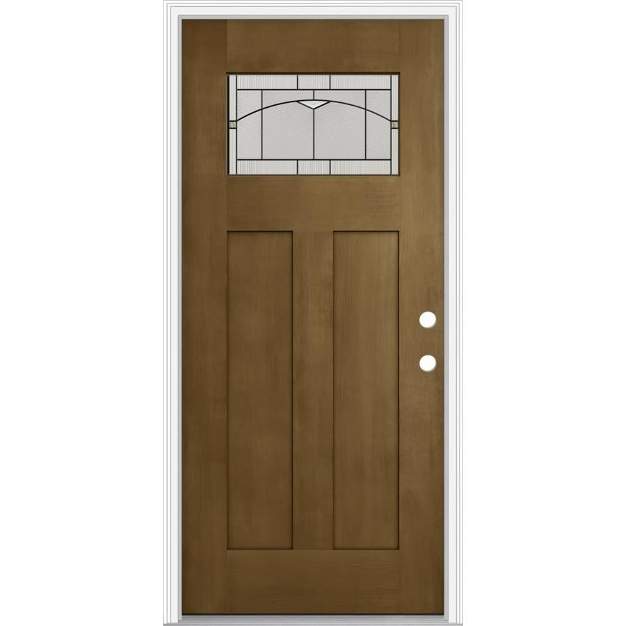 Shop jeld wen decorative glass left hand inswing woodhaven for Exterior door insulation