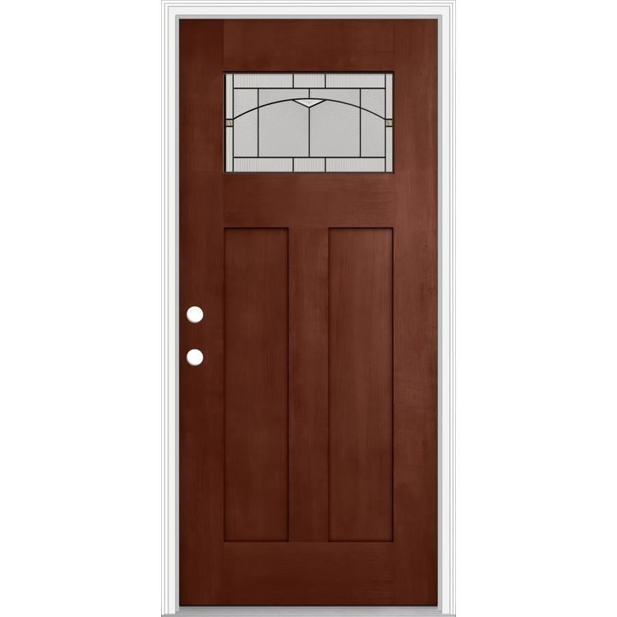 JELD-WEN Decorative Glass Right-Hand Inswing Wineberry Painted Fiberglass Prehung Entry Door with Insulating Core (Common: 36-in x 80-in; Actual: 37.93-in x 82.5-in)
