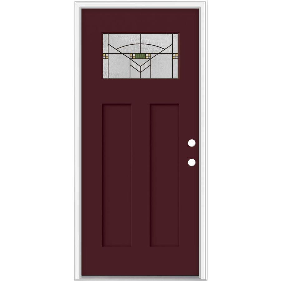 Shop jeld wen decorative glass left hand inswing currant for Decorative glass for entry doors