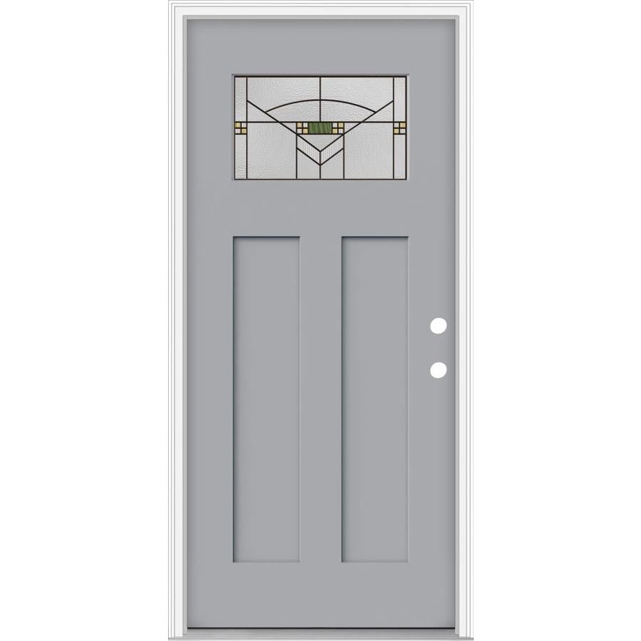 JELD-WEN Decorative Glass Left-Hand Inswing Infinity Grey Painted Fiberglass Prehung Entry Door with Insulating Core (Common: 32-in x 80-in; Actual: 33.93-in x 82.5-in)