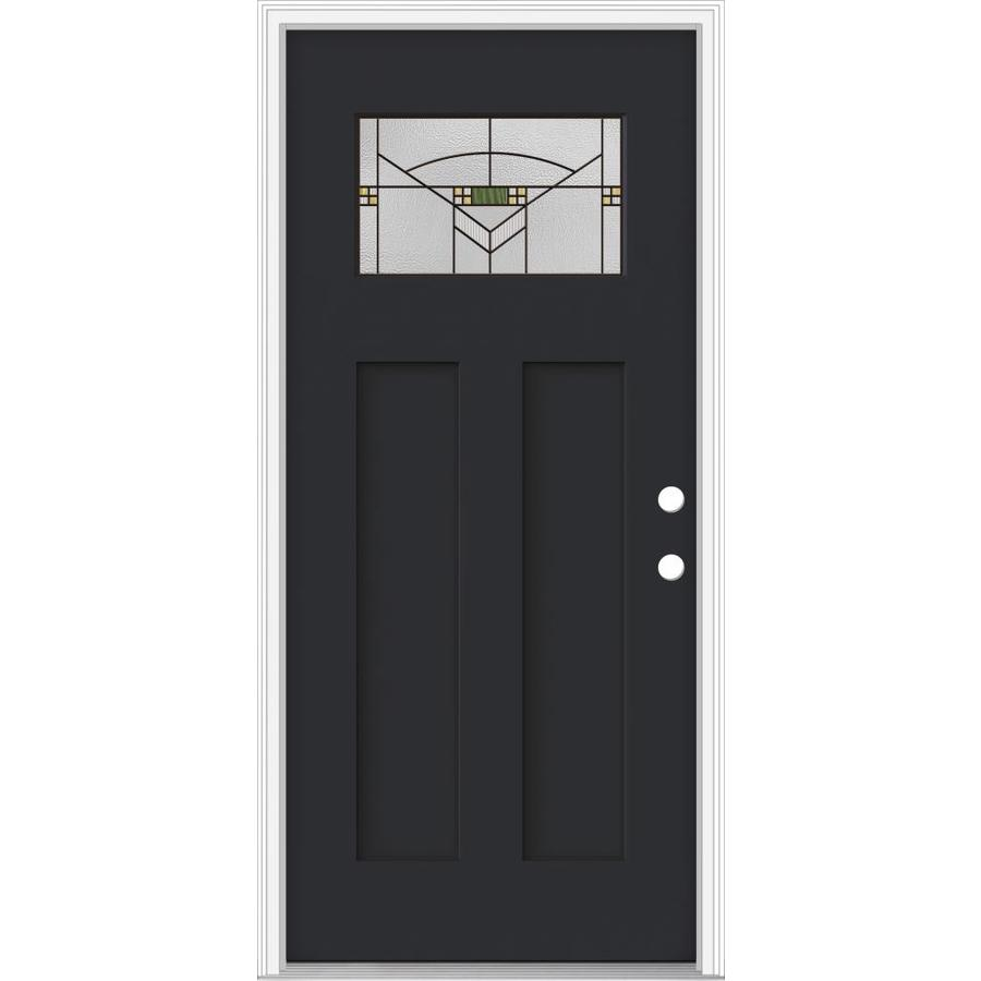 JELD-WEN Decorative Glass Left-Hand Inswing Peppercorn Painted Fiberglass Prehung Entry Door with Insulating Core (Common: 32-in x 80-in; Actual: 33.93-in x 82.5-in)