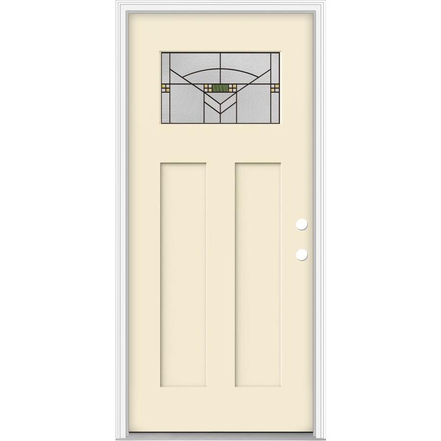JELD-WEN Decorative Glass Left-Hand Inswing Bisque Painted Fiberglass Prehung Entry Door with Insulating Core (Common: 36-in x 80-in; Actual: 37.93-in x 82.5-in)