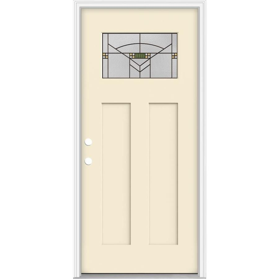 Shop Jeld Wen Decorative Glass Right Hand Inswing Bisque Painted Fiberglass Prehung Entry Door