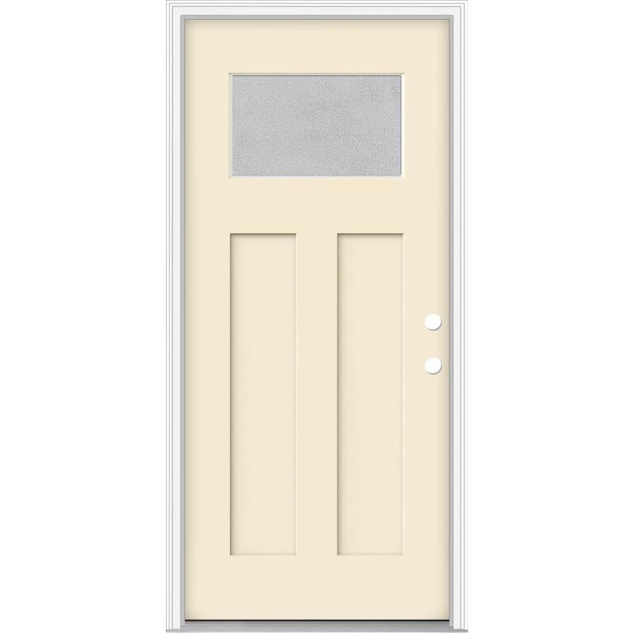 Shop jeld wen decorative glass left hand inswing bisque for Jeld wen architectural fiberglass door