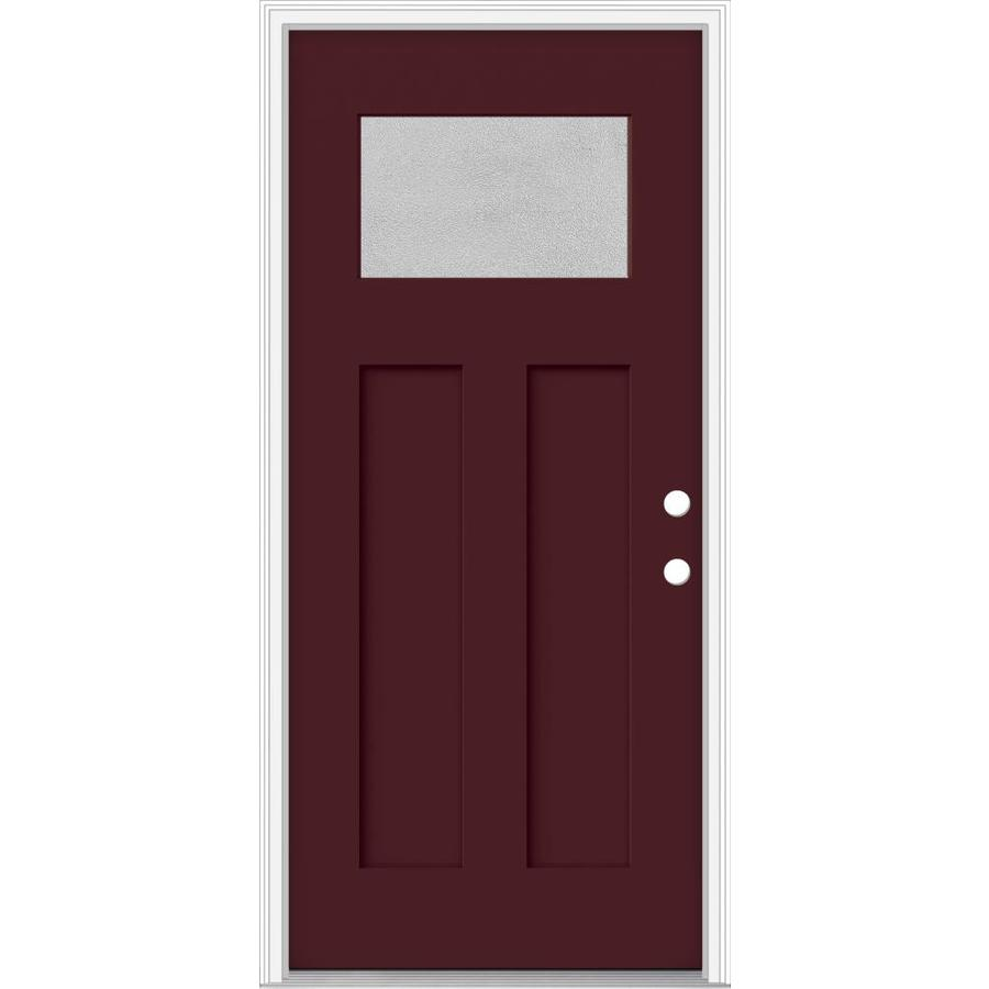 JELD-WEN Decorative Glass Left-Hand Inswing Currant Painted Fiberglass Prehung Entry Door with Insulating Core (Common: 32-in x 80-in; Actual: 33.93-in x 82.5-in)