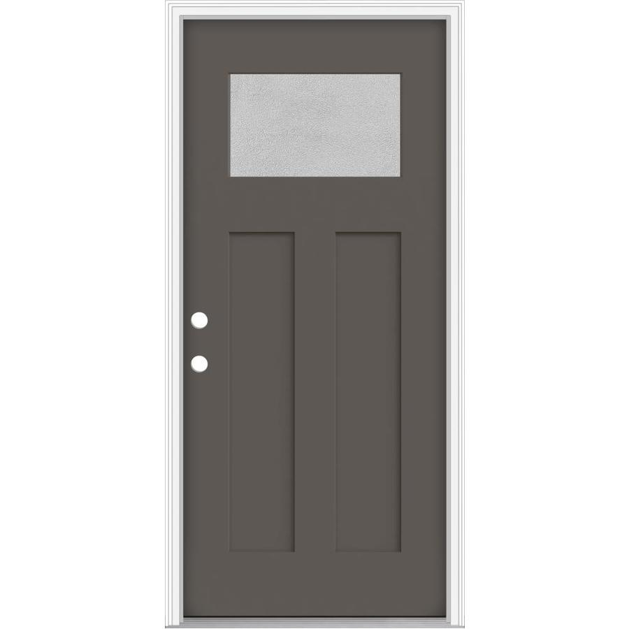 JELD-WEN Decorative Glass Right-Hand Inswing Timber Gray Painted Fiberglass Prehung Entry Door with Insulating Core (Common: 32-in x 80-in; Actual: 33.93-in x 82.5-in)