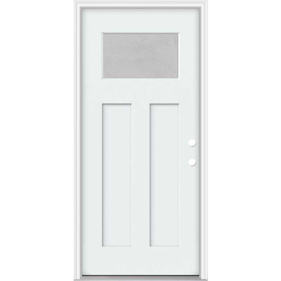 Shop Jeld Wen Decorative Glass Left Hand Inswing Modern White Painted Fiberglass Prehung Entry