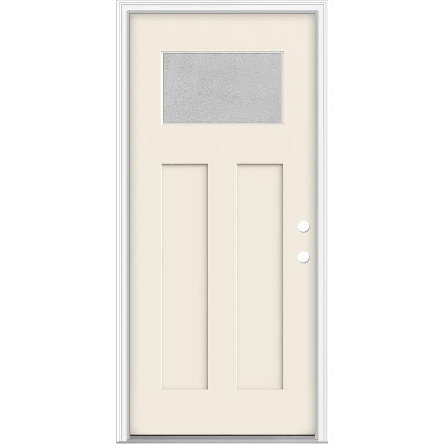 JELD-WEN Decorative Glass Left-Hand Inswing Primed Fiberglass Prehung Entry Door with Insulating Core (Common: 36-in x 80-in; Actual: 37.93-in x 82.5-in)