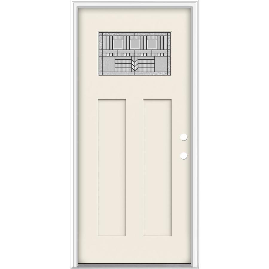 JELD-WEN Decorative Glass Left-Hand Inswing Primed Fiberglass Prehung Entry Door with Insulating Core (Common: 32-in x 80-in; Actual: 33.93-in x 82.5-in)
