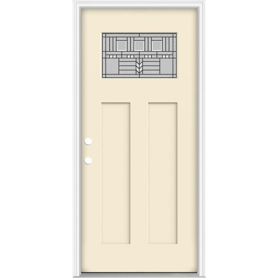 JELD WEN Decorative Glass Right Hand Inswing Bisque Painted Fiberglass  Prehung Entry Door With