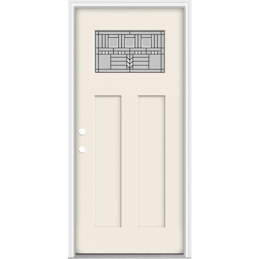 JELD-WEN Decorative Glass Right-Hand Inswing Primed Fiberglass Prehung Entry Door with Insulating Core (Common: 32-in x 80-in; Actual: 33.93-in x 82.5-in)