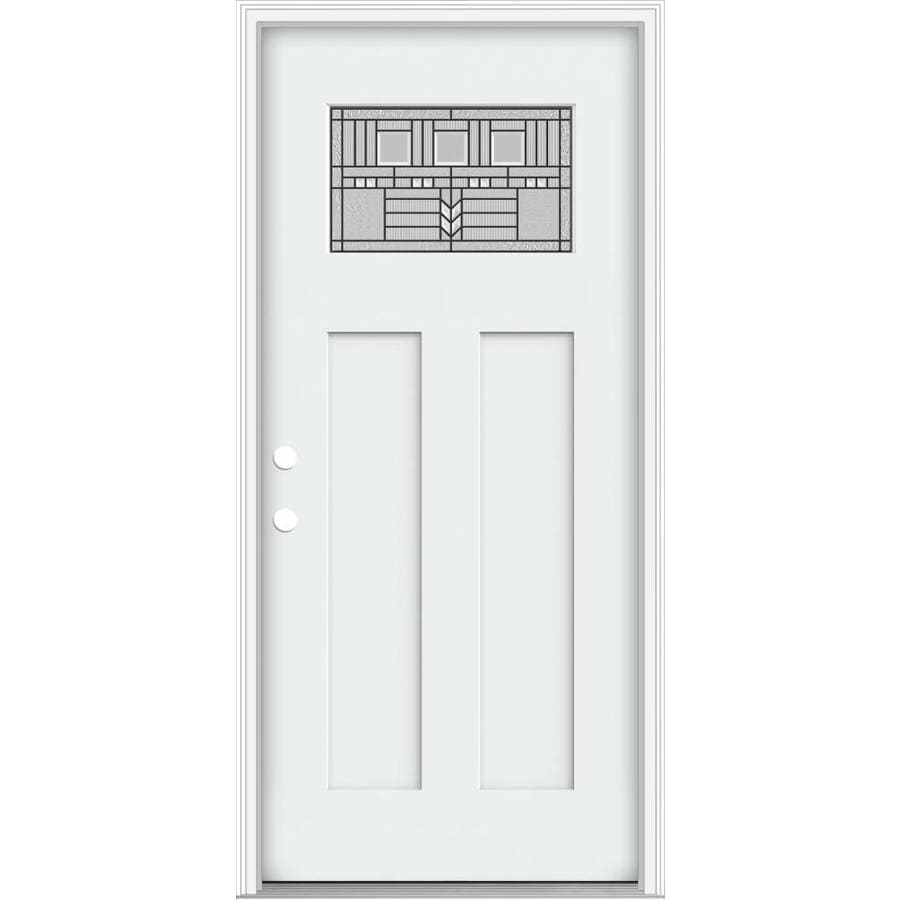 JELD-WEN Decorative Glass Right-Hand Inswing Modern White Painted Fiberglass Prehung Entry Door with Insulating Core (Common: 36-in x 80-in; Actual: 37.93-in x 82.5-in)