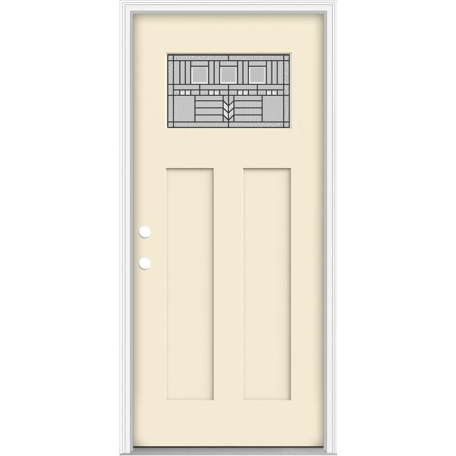 JELD-WEN Decorative Glass Right-Hand Inswing Bisque Painted Fiberglass Prehung Entry Door with Insulating Core (Common: 36-in x 80-in; Actual: 37.93-in x 82.5-in)