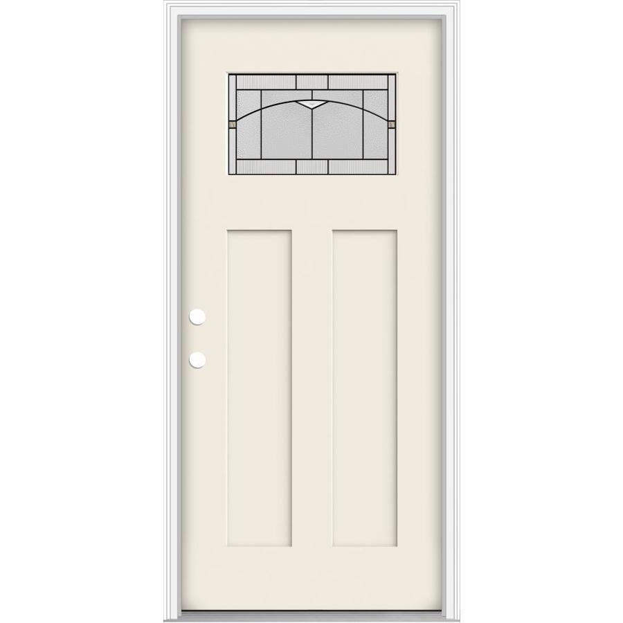 Shop jeld wen decorative glass right hand inswing primed for Exterior door insulation