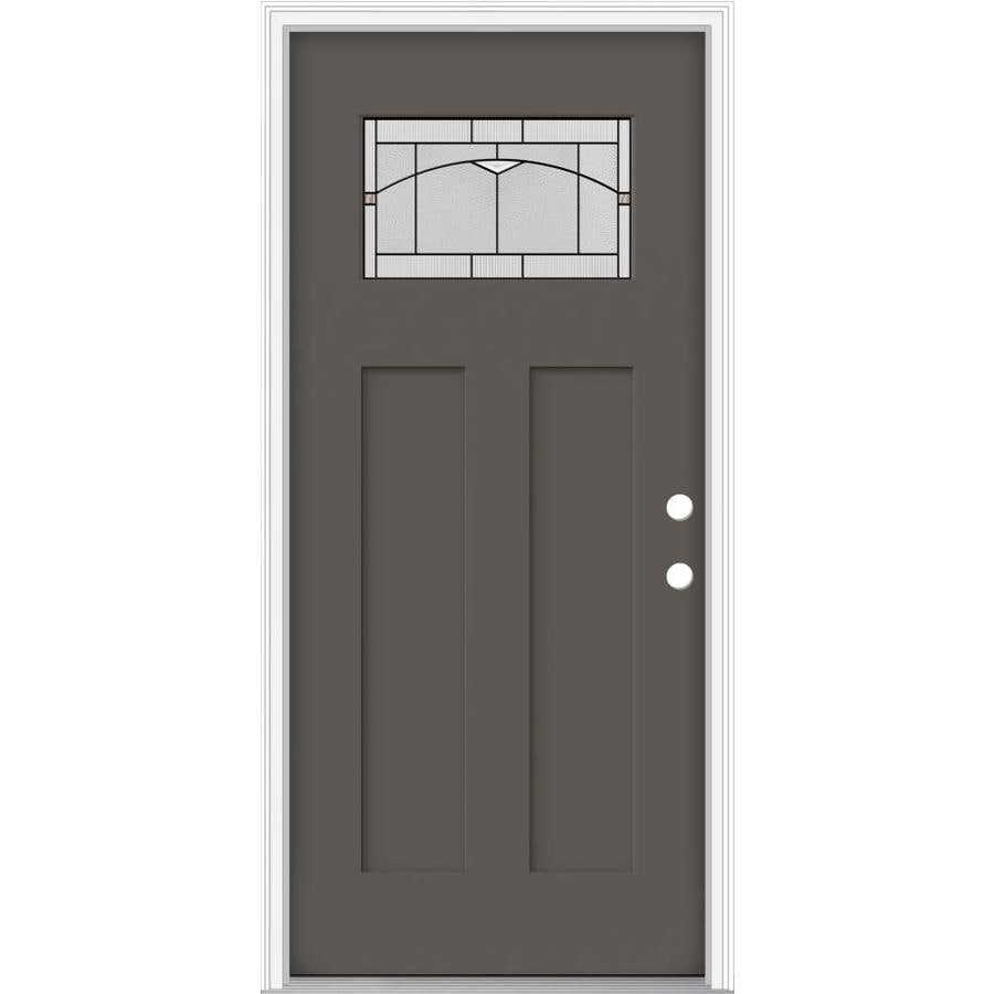 JELD-WEN Decorative Glass Left-Hand Inswing Timber Gray Painted Fiberglass Prehung Entry Door with Insulating Core (Common: 36-in x 80-in; Actual: 37.93-in x 82.5-in)