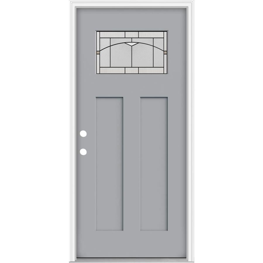Shop Jeld Wen Decorative Glass Right Hand Inswing Infinity Grey Painted Fiberglass Prehung Entry