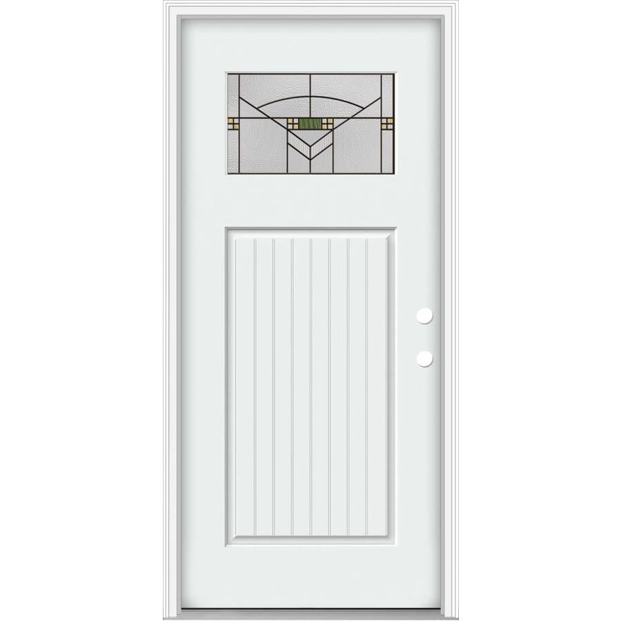 Delightful JELD WEN Decorative Glass Left Hand Inswing Modern White Painted Fiberglass  Prehung Entry Door